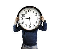 Time, man holding clock Royalty Free Stock Photography