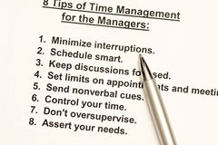 Time management. 8 tips of time management for the managers Stock Photos