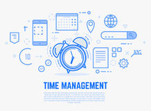 Time management alarm clock. Time management concept. Old alarm clock with bells ringing. Day schedule and office items, calendar, docs. Modern vector line Royalty Free Stock Images