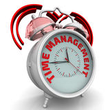 Time management. The alarm clock with an inscription. Alarm clock with the words `TIME MANAGEMENT`. 3D Illustration Royalty Free Stock Photo