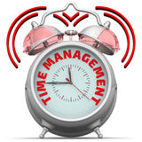 Time management. The alarm clock with an inscription. Alarm clock with the words `TIME MANAGEMENT`. 3D Illustration Stock Image