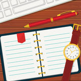 Time management banner with notebook. Royalty Free Stock Photo