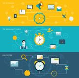 Time management banner set. Time management flat banner set with task scheduling finance analysis set isolated vector illustration Royalty Free Stock Images