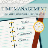 Time management banner. Vector concept background. Stock Image