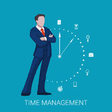Time management business concept with businessman. Vector illustration.  Stock Images