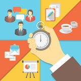 Time Management Business Concept. Modern flat conceptual vector business illustration of the time management with a stopwatch in a businessman hand and working Royalty Free Stock Image
