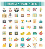 Flat Business and Financial Icons Set. Modern stylized flat business and financial icons set isolated on white. Office supplies, business people, money symbols Stock Photos