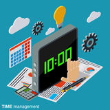 Time management, business planning vector concept. Time management, business planning flat isometric vector concept illustration Royalty Free Stock Photo
