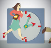 Time management business woman run. Color vector illustration. EPS8 Stock Image