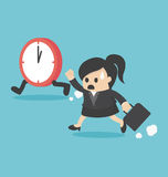 The time management business woman running Stock Photo