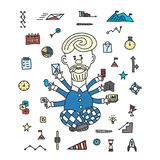 Time management businessman gadgets business concept. cartoon style drawn by hand. A man juggles a lot of hand gadgets. stock illustration