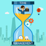 Time management. Businessman sinking in hourglass. Business time management. Businessman sinking in hourglass. Finance clock, concept deadline. Vector Stock Photo