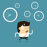 Time management with Cartoon businessman Stock Images