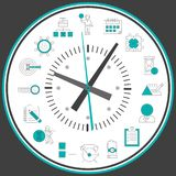 Time management clock. Time management concept with successful business working people decorative elements in clock circle vector illustration Stock Image