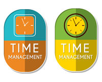 Time management with clock signs, two elliptical labels Royalty Free Stock Images