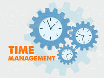 Time management with clocks in grunge flat design gears Royalty Free Stock Photo