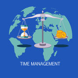 Time Management Concept Art. Flat Vector Illustration In Bright Colors Infographic Style With Text Royalty Free Stock Photography