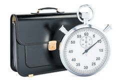 Time management concept, briefcase with chronometer. 3D renderin. G isolated on white background Stock Photography