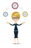 Time management concept with businesswoman. Business character with clock . Isolated on white background. Stock vector illustration Royalty Free Stock Photos