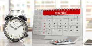 Time management concept. Calendar and an alarm clock, office background. 3d illustration. Deadlines concept. Desk calendar, and an alarm clock on an office Stock Photography