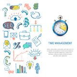 Time Management Concept. With colorful hand drawn business icons 3d stopwatch on white background  vector illustration Stock Photos