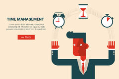Time Management Concept. Illustration of businessman who manage his time, flat design for website or print material Stock Photography