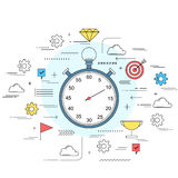 Time management concept line style illustration Royalty Free Stock Images