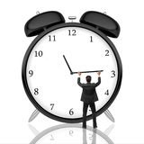 Time management concept. Man pushing alarm clock arrow on light background with reflection. Time management concept. 3D Rendering Royalty Free Stock Photo