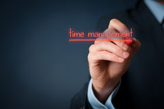 Time management. Concept. Man write on virtual board  notice Royalty Free Stock Image