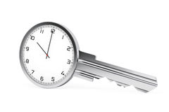 Time Management Concept. Modern Clock as Key. 3d Rendering Royalty Free Stock Image