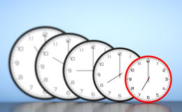 Time Management Concept. Round Modern Office Clocks Stock Photography
