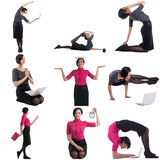 Time management concept. Set of woman doing yoga Royalty Free Stock Image