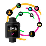 Time Management Concept. Smart Watch with Icons and Buttons. Flat Style. Vector Illustration. Stock Photo