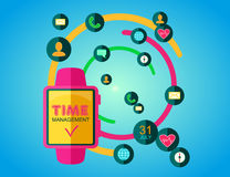 Time Management Concept. Smart Watch with Icons and Buttons. Stock Photos