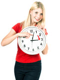 Time management concept. Summer time. Daylight Saving Time. Young woman holding a clock. Time management concept. Summer time (Daylight Saving Time Royalty Free Stock Photography