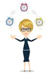 Time management concept with woman character. Time management concept with businesswoman. Business character with alarm clock . Isolated on white background Royalty Free Stock Photography