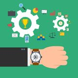 Time management concept. Wristwatch on the hand of businessman. Gears with business elements. Vector illustration Stock Image
