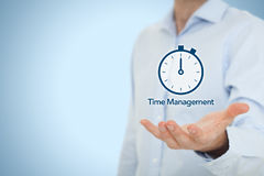 Time management. And deadline concept. Businessman with clock watch expecting deadline Stock Photo