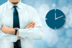 Time management and deadline concept. Businessman silhouette in Stock Photos