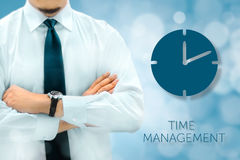 Time management and deadline concept. Businessman silhouette in Royalty Free Stock Image