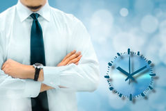 Time management and deadline concept. Businessman silhouette in Stock Photo