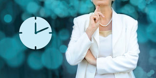 Time management and deadline concept. Senior businesswoman silho Stock Images