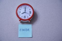 Time management deadline and schedule concept: alarm clock and stickers with different inscriptions.  stock images
