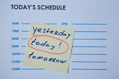 Time management deadline and schedule concept: schedule sheet and sticker with inscription on grey background.  stock image