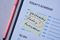 Time management deadline and schedule concept: schedule sheet and sticker with inscription on grey background.  stock photo