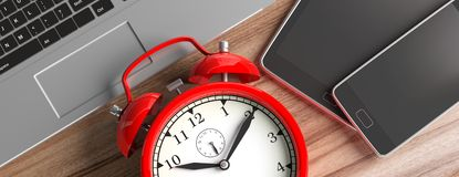 Time management. Devices and alarm clock on wood, banner, close up top view. 3d illustration stock image