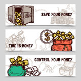 Time management financial banners set doodle. Control and save money with time management 3 horizontal financial banners set doodle abstract vector  illustration Royalty Free Stock Image