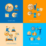 Time management flat composition icons set Stock Images