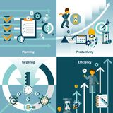Time management flat icons. With planning productivity targeting efficiency isolated vector illustration Royalty Free Illustration