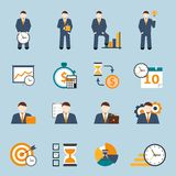 Time management flat icons set Royalty Free Stock Photos